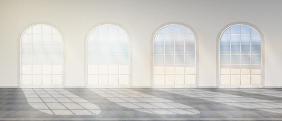 Raum mit runden Fenstern