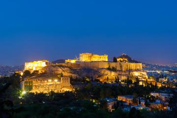 illuminated Pathenon, Akropolis at night after sunset