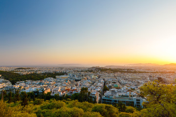 Sunset at Athens, panorma, Acropolis, view from Lycabettus Hill
