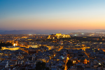 Acropolis with Parthenon at night, Athens, Greece, view from Lycabettus Hill