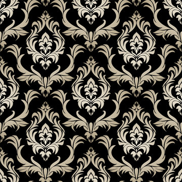Seamless retro damask Wallpaper - silver floral Ornament on black.