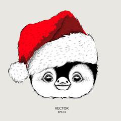 Penguin in Santa Claus hat. Vector illustration