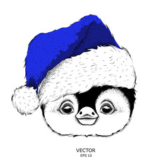 Penguin in Santa Claus hat. Vector illustration