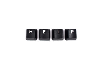 Keyboard help stock images. Help inscription. Computer keyboard Help button. Keyboard buttons on a white background