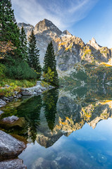 Obraz Tatra mountains, Morskie Oko lake, fall morning, Poland - fototapety do salonu