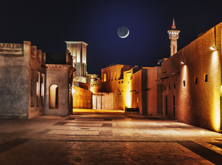 Garden Poster Old building Night view of the streets of the old Arab city Dubai UAE