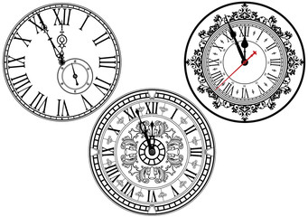 Clock Faces with Ornamental Decoration - Black and White Design Elements, Vector Illustration