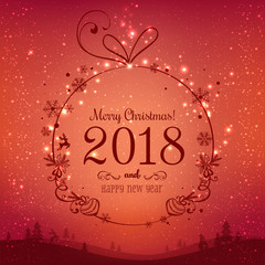Shiny Christmas ball for Merry Christmas 2018 and New Year on red background with light, stars, snowflakes. Holiday card. Vector eps illustration