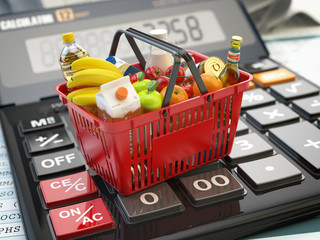 Poster Shopping basket full of grocery foods on calculator. Savings, dieting consumerism concept background.