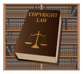 Copyright Law is an illustration of a copyright law book used by lawyers and judges. Represents legal matters and legal proceedings.