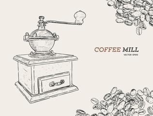 Vintage coffee grinder. Hand drawn sketch style.Coffee mill