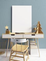 Modern Christmas  light interior, a place for studyl. 3D illustration. poster mock up