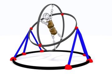 The Robot on simulator. simulator for pilots. training of the vestibular apparatus. color. 3D rendering.