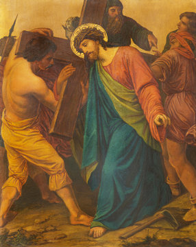 LONDON, GREAT BRITAIN - SEPTEMBER 17, 2017: The painting Jesus is helped by Simon of Cyrene to carry his cross in church of St. James Spanish Place by M. Jacob (1873).