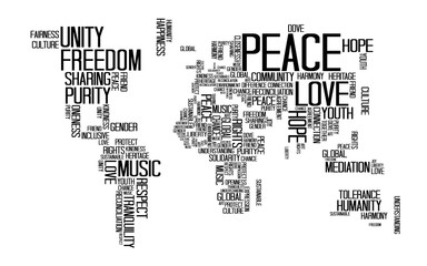 Peace Concept, Text or Typography with Love, Happiness and Peace wording in World Map shape