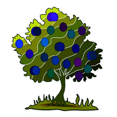 plum tree on white background vector ai10