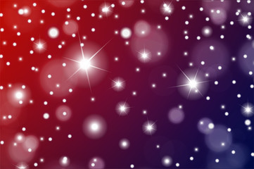 Abstract particles effect for luxury or Christmas greeting card. Sparkling texture. Snow and stars on red and violet background. Vector illustration
