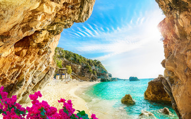 Beautiful view over the beach in Corfu, Pelion, Mylopotamos - Greece Fototapete