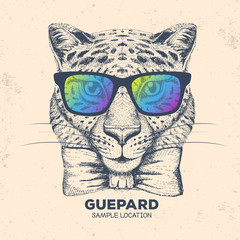 Hipster animal guepard. Hand drawing Muzzle of guepard
