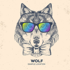 Hipster animal wolf. Hand drawing Muzzle of wolf