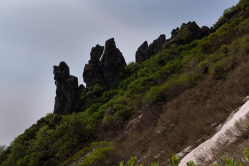 Rock formation resembling a goblin's nose on mount Kurodake, Daisetsuzan National Park, Hokkaido, Japan