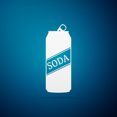 Soda can icon isolated on blue background. Flat design. Vector Illustration