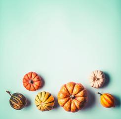 Various pumpkin border background , top view. Retro style. Creative autumn layout background