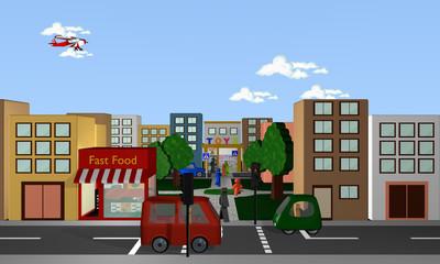 Stadtansicht von vorne mit fahrenden Autos, Fußgängern, Geschäften und Park