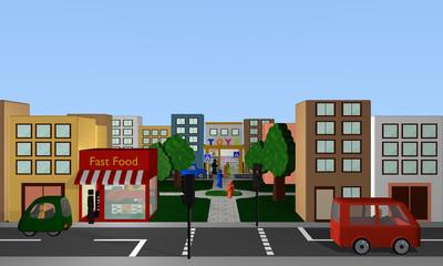 Straßenszene mit fahrenden Autos, Fußgängern, Geschäften und Park