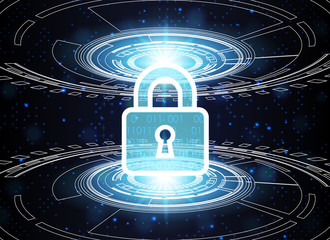 Cyber Security Data Protection Business Technology Privacy concept, key lock and circle technology background, Abstract cyber digital technology, vector illustration