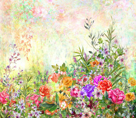 Abstract colorful flowers watercolor painting. Spring multicolored in .nature.