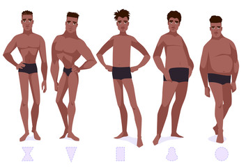 Set of male body shape types - five types.