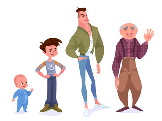 Aging concept of male characters. The cycle of life from childhood to old age.