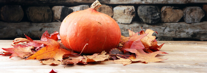 Thanksgiving background: pumpkins and fallen leaves on wooden background. Halloween, Thanksgiving day or seasonal autumnal