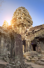 ruins of Ta Prohm temple in Angkor Wat (Siem Reap, Cambodia),12th century,..