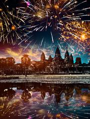 firework over Angkor wat, Siem reap,Cambodia