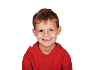 portrait of a boy smiling on white background