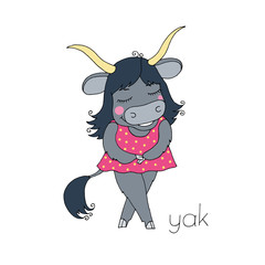 Cute colorful cartoon yak in pink dress