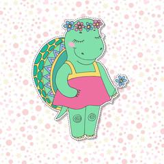 Cute colorful cartoon turtle in pink dress