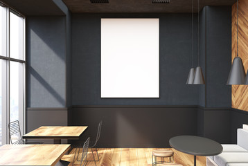 Gray coffee shop interior, poster