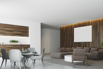 White and dark wooden living room and kitchen