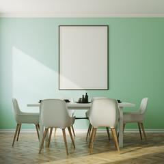 Green dining room interior, poster