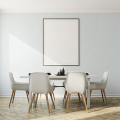White dining room interior, vertical poster