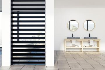 Luxury white and black bathroom, sink, mirror
