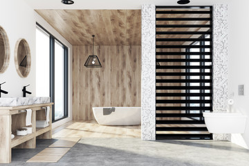 Wooden bathroom, tub, sink and shower