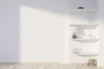 White living room, shelves