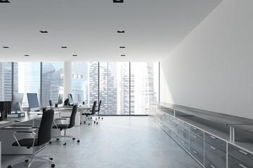White ceiling open space office, bookshelves