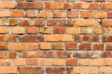 Photo wall of red brick and rough masonry
