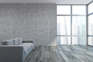 Empty concrete living room, gray sofa