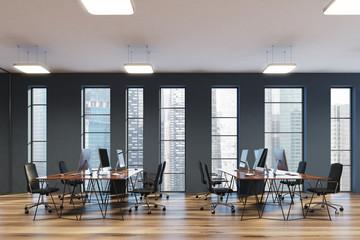 Narrow windows, gray open space office side